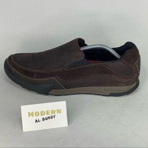 Merrell Espresso Slip On Hiking Shoes Mens Sz 12